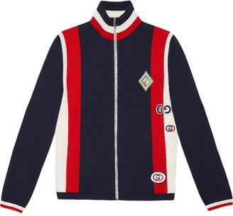 Gucci Wool knit bomber jacket with patches