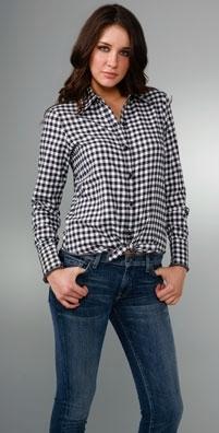 Larsen Gray Tie Front Flannel Shirt