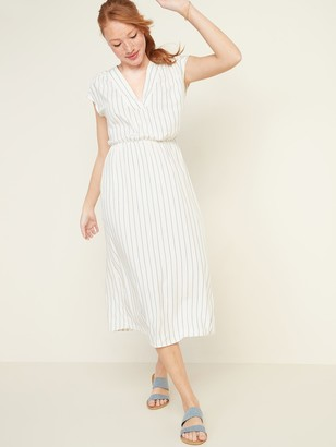 Old Navy Waist-Defined Striped V-Neck Midi Dress for Women