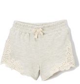 DKNY Cement French Terry Lace Accent Shorts - Girls