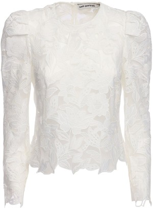 Self-Portrait Lace Top W/ Puff Sleeves