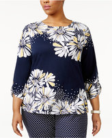 Alfred Dunner Plus Size Seas The Day Collection Studded Daisy-Print Tunic
