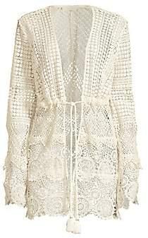 Ramy Brook Women's Julius Long-Sleeve Crochet Cover Up