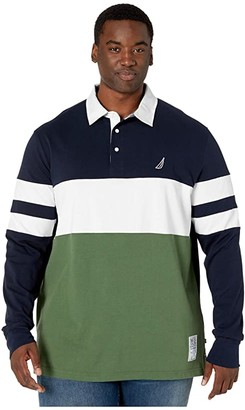 Nautica Big Tall Chest Stripe Rugby (Navy) Men's Long Sleeve Pullover