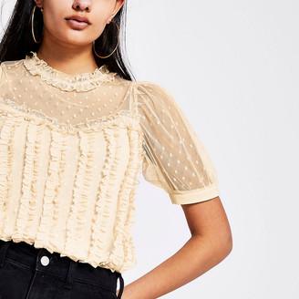 River Island Beige frill mesh short sleeve T-shirt