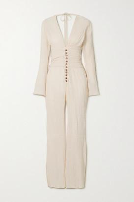 Savannah Morrow The Label The Oasis Crinkled Organic Cotton-gauze Jumpsuit - Cream