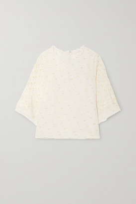 See by Chloe Lace-trimmed Pintucked Printed Fil Coupe Georgette Blouse - Ecru