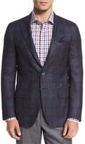 Isaia Plaid Two-Button Sport Coat, Navy/Brick