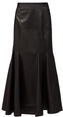 Loewe Godet-hem Leather Midi Skirt - Black
