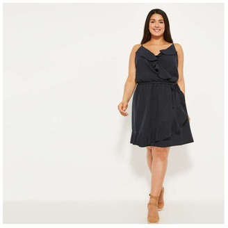 Joe Fresh Women+ Ruffle Faux Wrap Dress, JF Midnight Blue (Size 1X)