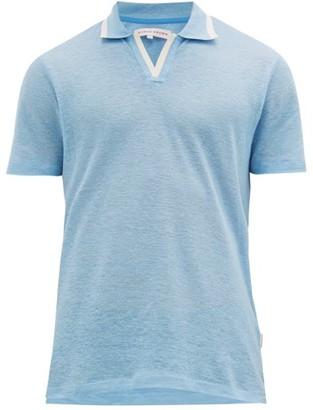 Orlebar Brown Felix Linen-pique Polo Shirt - Mens - Blue
