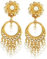 Jose & Maria Barrera Golden Pearlescent Round Filigree Chandelier Earrings