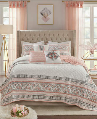 Madison Home USA Moria King/California King 6-Pc. Cotton Printed Clip Jacquard Reversible Coverlet Quilt Set Bedding
