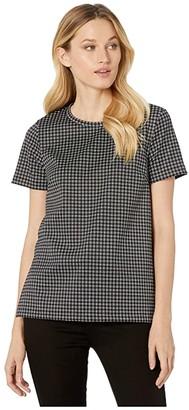 MICHAEL Michael Kors Micro Check Short Sleeve Tunic (Black/White) Women's Clothing