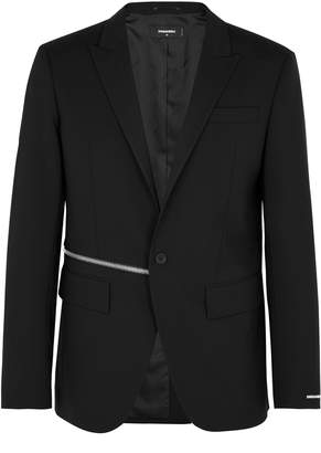 DSQUARED2 Black Zip-embellished Wool Blazer