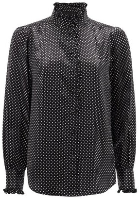 MARC JACOBS, RUNWAY Marc Jacobs Runway - High-neck Ruffled Polka-dot Silk-satin Blouse - Black