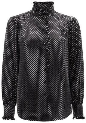 Marc Jacobs Runway - High-neck Ruffled Polka-dot Silk-satin Blouse - Womens - Black