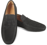 Moreschi Portofino - Black Perforated Suede Driver Shoes