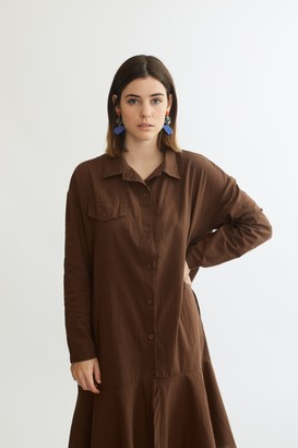 MK2UK - Step Hem Shirt Dress Brown - One Size - Brown