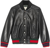 Gucci Children's leather bomber with Web
