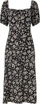 Wallis Black Floral Print Puff Sleeve Midi Dress