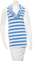 Kate Spade Striped Ruffle-Trimmed Top