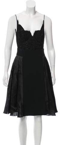 Givenchy Lace-Paneled Pleated Dress