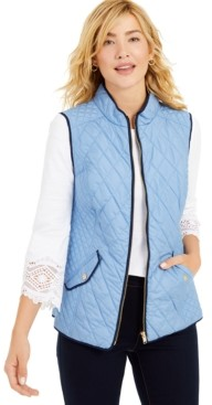 Charter Club Petite Zip-Front Quilted Cotton Vest, Created for Macy's
