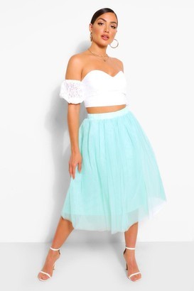 boohoo Off The Shoulder Lace Top And Tulle Midi Skirt Two-Piece Set