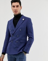 Gianni Feraud double breasted slim fit linen blend jacket