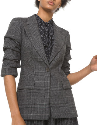 Michael Kors Collection Crushed-Sleeve Houndstooth Check Wool Blazer