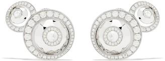 David Morris 18kt white gold diamond Rose Cut Forever Double Disc earrings