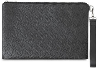 Burberry Monogram Leather Zip Pouch