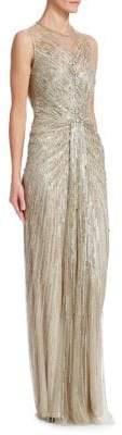 Jenny Packham Women's Sequin Illusion Sheath Gown - Ecru - Size 18
