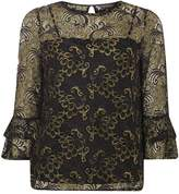 Dorothy Perkins Black Gold Lace Flute Sleeve Top