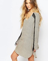 Maison Scotch Printed Shift Dress with Fringing