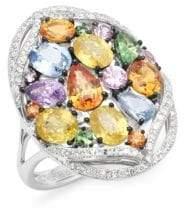 Effy Sapphires, Diamond and 14K White Gold Ring