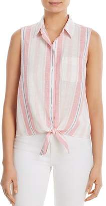 BeachLunchLounge Sleeveless Striped Tie-Front Shirt