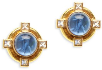 Elizabeth Locke Venetian Glass Intaglio 19K Yellow Gold, Moonstone & Cerulean Cab Putto And Duck Earrings