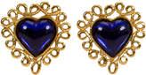 One Kings Lane Vintage Oversize YSL Blue Heart Earrings