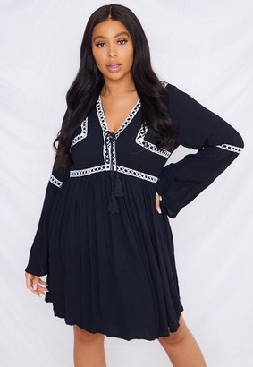 Missguided Size Black Crochet Kimono Sleeve Dress