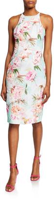 Black Halo Montego Floral-Printed Sleeveless Sheath Dress