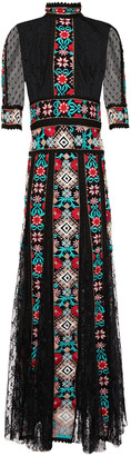 Costarellos Point D'esprit-paneled Embroidered Chiffon And Lace Maxi Dress