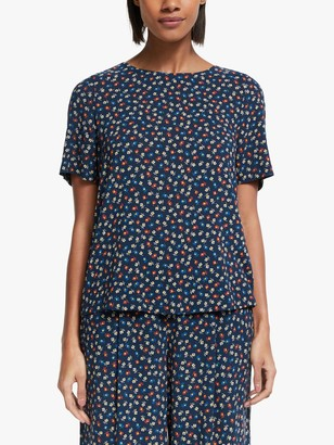 Collection WEEKEND by John Lewis Short Sleeve Floral Shell Top, Black/Blue