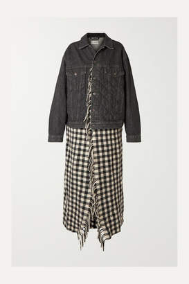 Balenciaga Layered Quilted Denim And Fringed Gingham Wool Jacket - Black