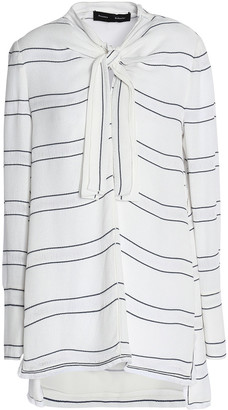 Proenza Schouler Knotted Fringe-trimmed Striped Crepe Blouse