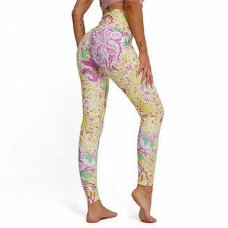 SotRong Flower Printed Lycra Leggings for Women Workout Running Tights Thick Yoga Trousers Tummy Control Push Up with Pocket S