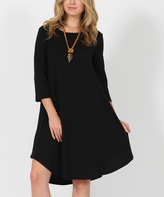 Black Three-Quarter Sleeve Side-Pocket Swing Tunic Dress