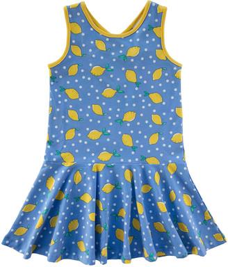 Florence Eiseman Girl's Lemon Polka-Dot Sleeveless Dress, Size 4-6X