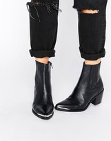 Asos RENETA Leather Western Chelsea Boots
